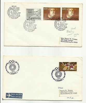 Three 1972 Portuguese covers, all posted to Emma Watson, Elizabethtown, PA, USA.