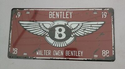Blechschild 15,5x30cm  Bentley Walter Owen Bentley   Vintage US Kennzeichen