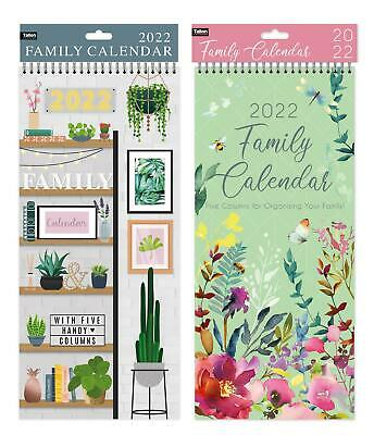 2019 Family Organiser Large Slim Spiral Planner Calendar Month to View 5 Columns