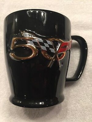 50Th Anniversary Corvette - Ceramic Coffee Mug - Black With Logo - New