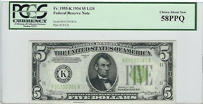 1934 $5 Dallas .... Light Apple Green Seal .... PCGS Choice About New 58 PPQ