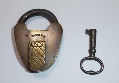 "Antique Brass Heart Shaped Padlock, 2"" high with 1 Key  - lock key"