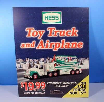 Hess Gas Collectible Dealer's Poster Sign for Toy Truck & Airplane