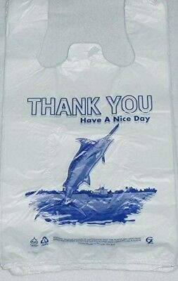 "Biodegradable White Thank-you T-shirt Shopping Bags Handles 7""x5""x15"" Lot 500"