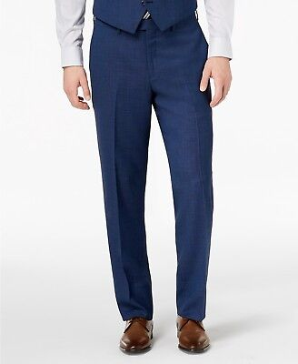 $200 Michael Kors Men'S Blue Wool Flat Front Suit Dress Pants 37 W 36 L