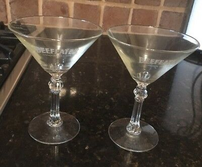 2 Beefeater London Dry Gin MARTINI GLASSES Cut Stem Etched, Beautiful Condition