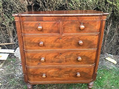 Antique Mahogany Chest Of Drawers 2 over 3