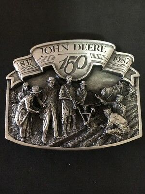 John Deere Anniversary 150 years Pewter Belt Buckle Individual #7600 Orig Box