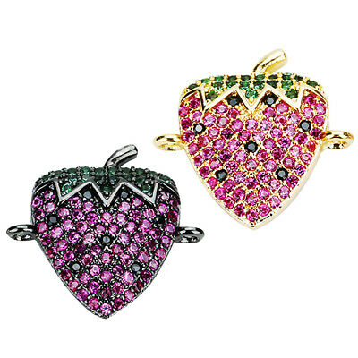 1x Strawberry Crystal Charms Connectors Pendants Jewelry Making Fashionable