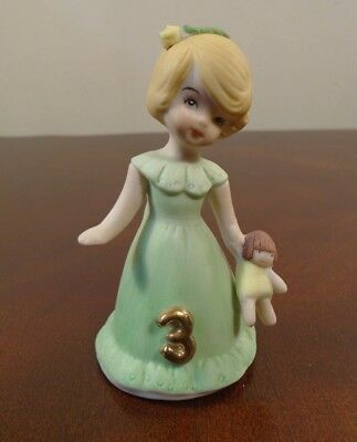 "Vintage Enesco Growing Up Birthday Girls Blonde Age 3 Porcelain 3"" Figurine"