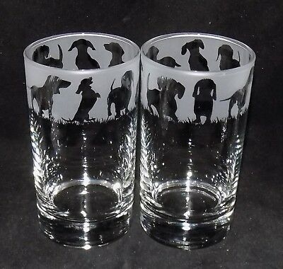 "New Etched ""DACHSHUND"" Hiball Glasses - Beautiful Gift - Free Gift Box"