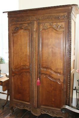 Antique French Provincial Period Wedding Armoire Wardrobe Solid Oak Medium Size
