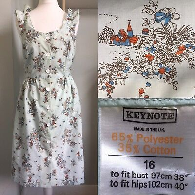 KEYNOTE Vtg 1970S Light Blue Sundress Current Size 14/16 Button Front Never Worn