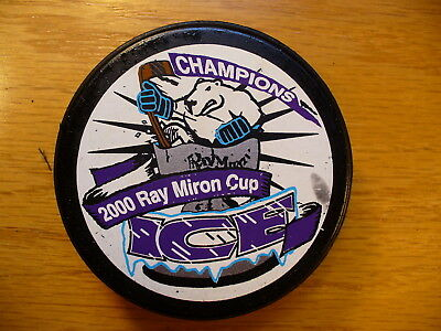 CHL Indianapolis Ice '00 Miron Cup Champs Team Logo Hockey Puck Collect Pucks