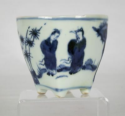Chinese Blue & White Porcelain Footed Libation Cup