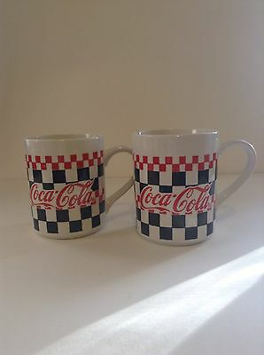 Lot Of 2 Red Black Checkered Squares Coca Cola Ceramic Coffee Cup Mugs