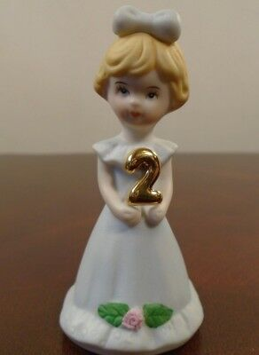 "Vintage Enesco Growing Up Birthday Girls Blonde Age 2 Porcelain 3"" Figurine"