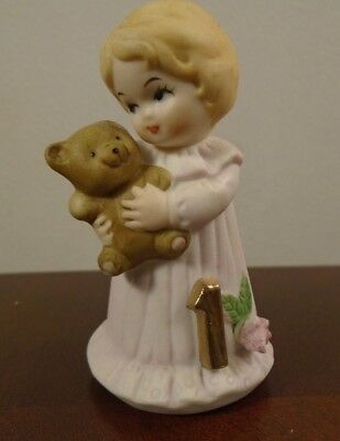 "Vintage Enesco Growing Up Birthday Girls Blonde Age 1 Porcelain 3"" Figurine"