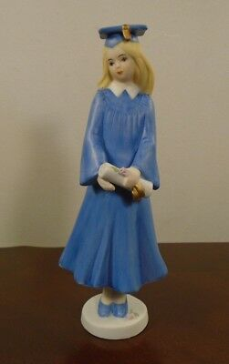 "Vintage Enesco Growing Up Girls Graduate Blonde Porcelain 7"" Figurine 1991"