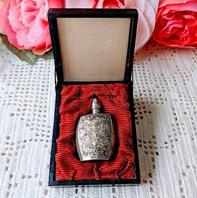 Antique 950 Sterling Silver Perfume flask bottle in Orig. Case Perfect!