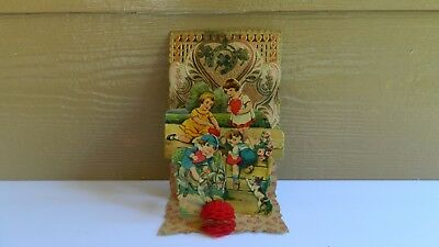 Vintage To My Valentine Germany 3-D Honeycomb Children Fold-Out Card
