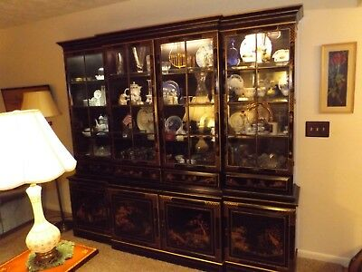 Chinoiserie-Style China Cabinet/Breakfront With Matching Buffet - Must Sell!