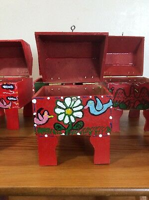 Mexican Folk Art Wood  Chest Baul Box ALHAJERO  for weddings gift.  SET OF 6