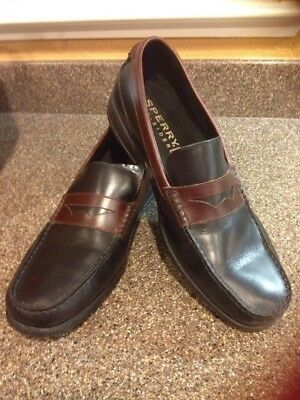 08c55f0d1d4 Men s SPERRY TOP-SIDER Black Brown Penny Loafer Leather Boat Shoes Size 13M   S5