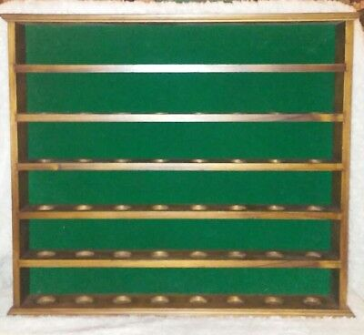 "Wooden Thimble Rack VTG 17"" x 15"" Shelf Display Case HOLDS 48 Green Felt Large"