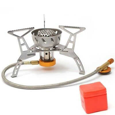 3500W Portable Windproof Picnic Burner Foldable Camping Mini Steel Stove +Case