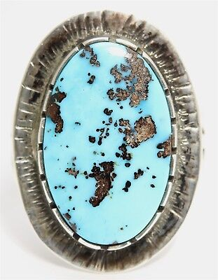 Navajo THOMAS JIM Rocking Horse Ranch Sterling Silver Bisbee Blue Turquoise Ring