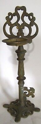 """Vintage Heavy Cast Brass Key Shaped 18"""" Stand Candle Holder -India -4 Pounds"""
