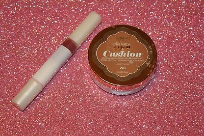 LOreal Lumi Cushion Foundation True Match W8 CREME CAFE + FERITY LIP GLOSS #654