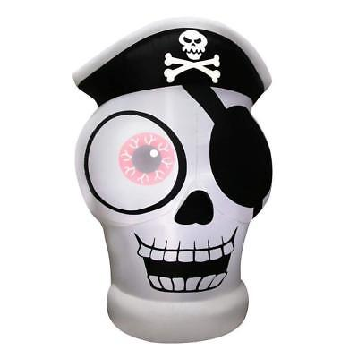 New Halloween Airflowz 5 ft 1 One Eyed Pirate Skull Airblown Inflatable