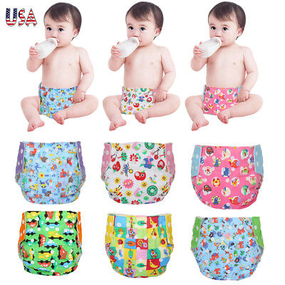 Baby Cloth Diapers + 5 Inserts Baby One Size Adjustable Diaper Covers Fit 6-30LB