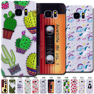 TPU Protective Clear Silicone Pattern Soft Case Cover Back Cute Skin For Samsung