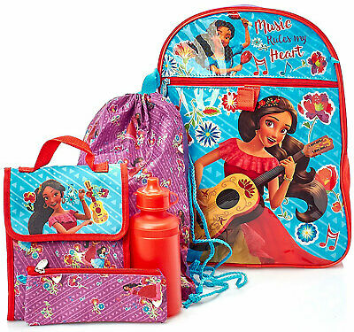 Disney Girls' Elena 5-Piece Backpack Lunch Bag Set, Red-Purple, 17x12 Inches