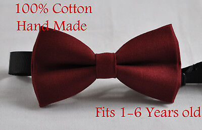 Boy Kids Baby 100% Cotton DARK ROSEWOOD RED Bow Tie Bowtie Wedding 1-6 Years Old