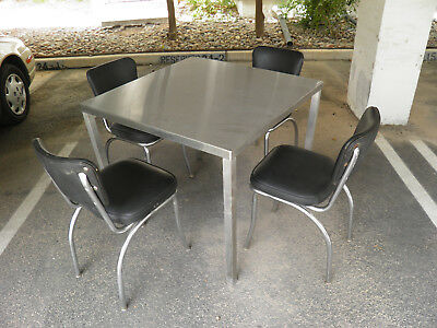 4 x 50's Chrome & Black 50's Diner Chairs w/ Stainless Steel Table Very Nice