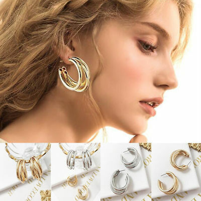 Women Gold Silver Plated Big Circle Smooth Large Ring Hoop Ear Stud Earrings New