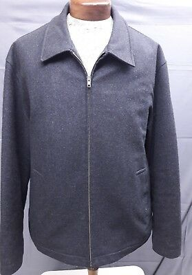 Brooks Brothers Mens Large Full Zip Jacket Coat Wool Cashmere Charcoal Gray