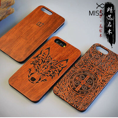MISSATN Natural Wood Carved Wooden Case Cover + PC Bumper for 1+ OnePlus 3 5 5T