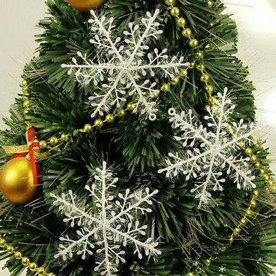 30-60pcs Classic White Snowflake Christmas Tree Ornaments Christmas HolidayParty