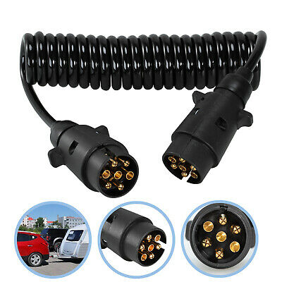 3M Trailer Board Light Cable Lead 7 Pin Extension Socket Suzie Plug Curly Cable