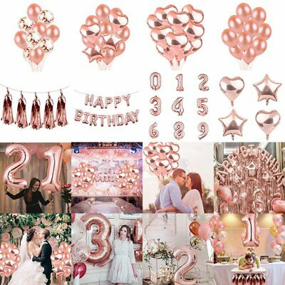"12"" Rose Gold Foil Latex Confetti Balloons Set Hen Party Wedding Party Birthday"
