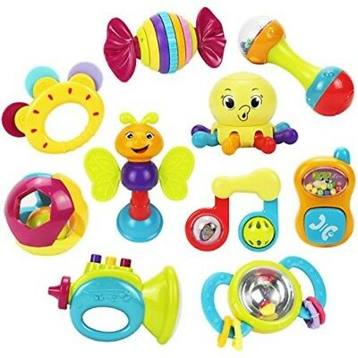 Baby Toys Rattles Teether Shaker Grab Spin Musical Boy Girl Gift 10 Piece New