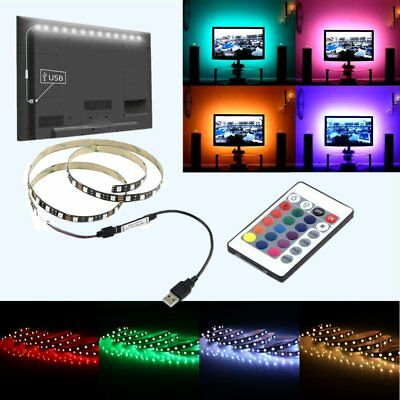 DC 5V 5050 60SMD/M RGB LED Strip Lamp Bar TV Back Lighting Kit+USB 24Key Remote