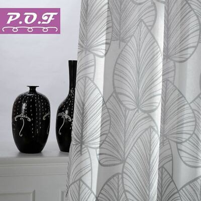 P.O.F New Season Printed Leaves Curtains for living room window treatment sheer