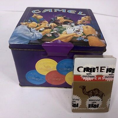 JOE CAMEL Poker Set Chips & Cards Collectible Tin Case '94 & NEW 80s CARD DECK