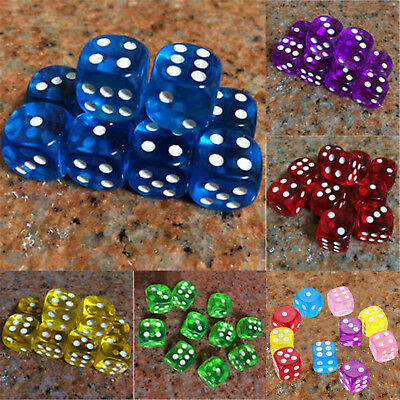 10Pcs 16mm Dice Transparent Standard D6 Six Sided Acrylic For RPG Gaming Games